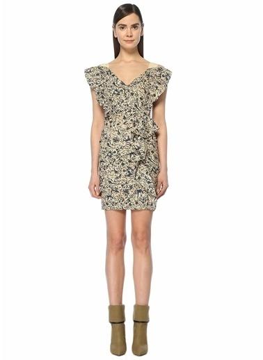 Etoile Isabel Marant V Yaka Desenli Mini Elbise Bej